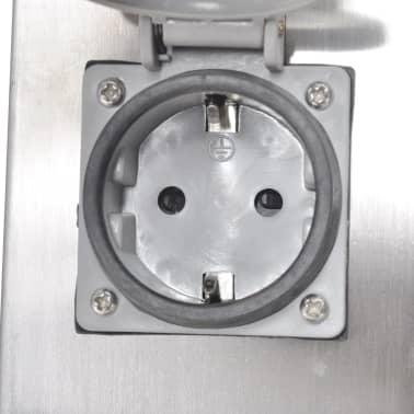 Pelare i rostfritt stål med utomhusuttag och lampa[6/6]