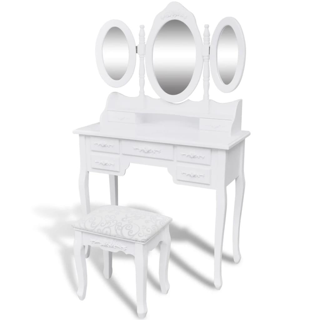 vidaXL Masă de toaletă cu taburet și 3 oglinzi, alb poza 2021 vidaXL