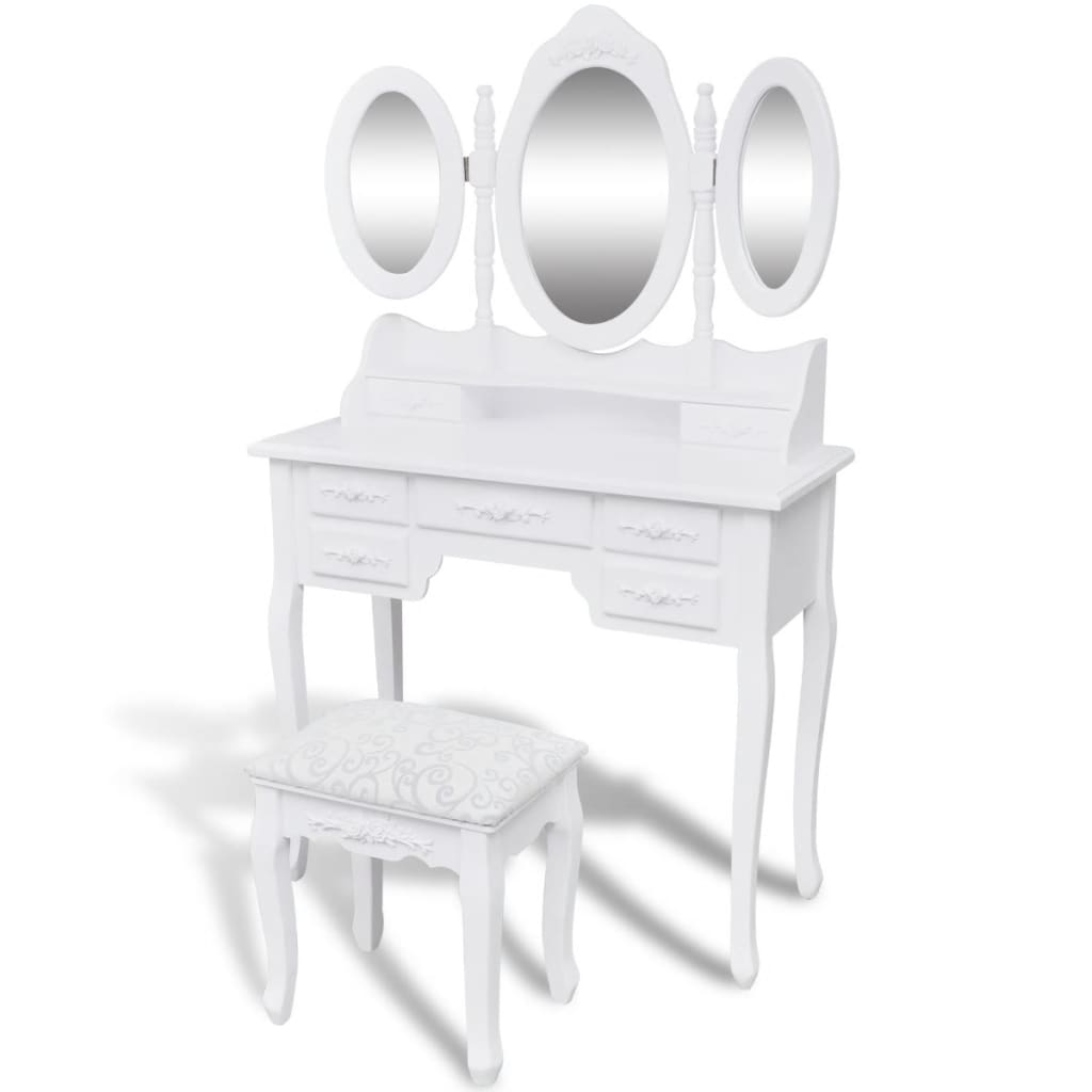 vidaXL Μπουντουάρ με 3 Καθρέφτες και Σκαμπό Λευκό