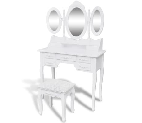 vidaXL Toaletni stolić sa stolcem i 3 ogledala bijeli