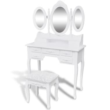 vidaXL Coiffeuse avec tabouret et 3 miroirs Blanc[1/7]