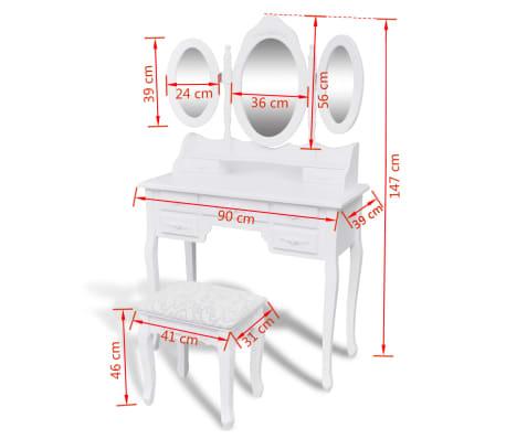 Acheter vidaxl coiffeuse avec tabouret et 3 miroirs blanc - Coiffeuse avec miroir et tabouret pas cher ...
