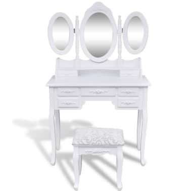 vidaXL Coiffeuse avec tabouret et 3 miroirs Blanc[2/7]