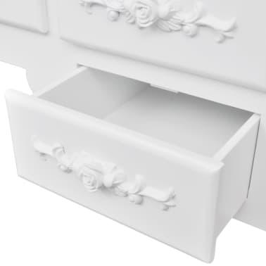 vidaXL Coiffeuse avec tabouret et 3 miroirs Blanc[3/7]