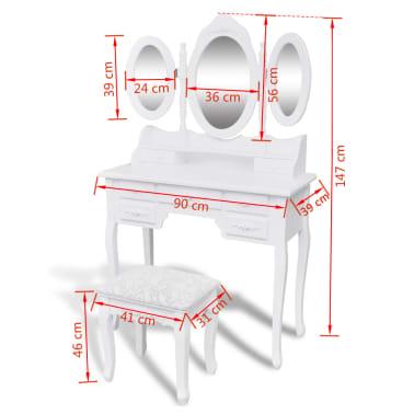 vidaXL Coiffeuse avec tabouret et 3 miroirs Blanc[7/7]