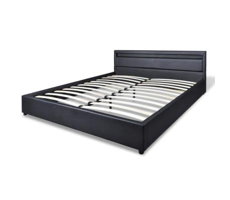 vidaXL Letto con Materasso Memory e LED Nero in Similpelle 140x200 cm[5/14]