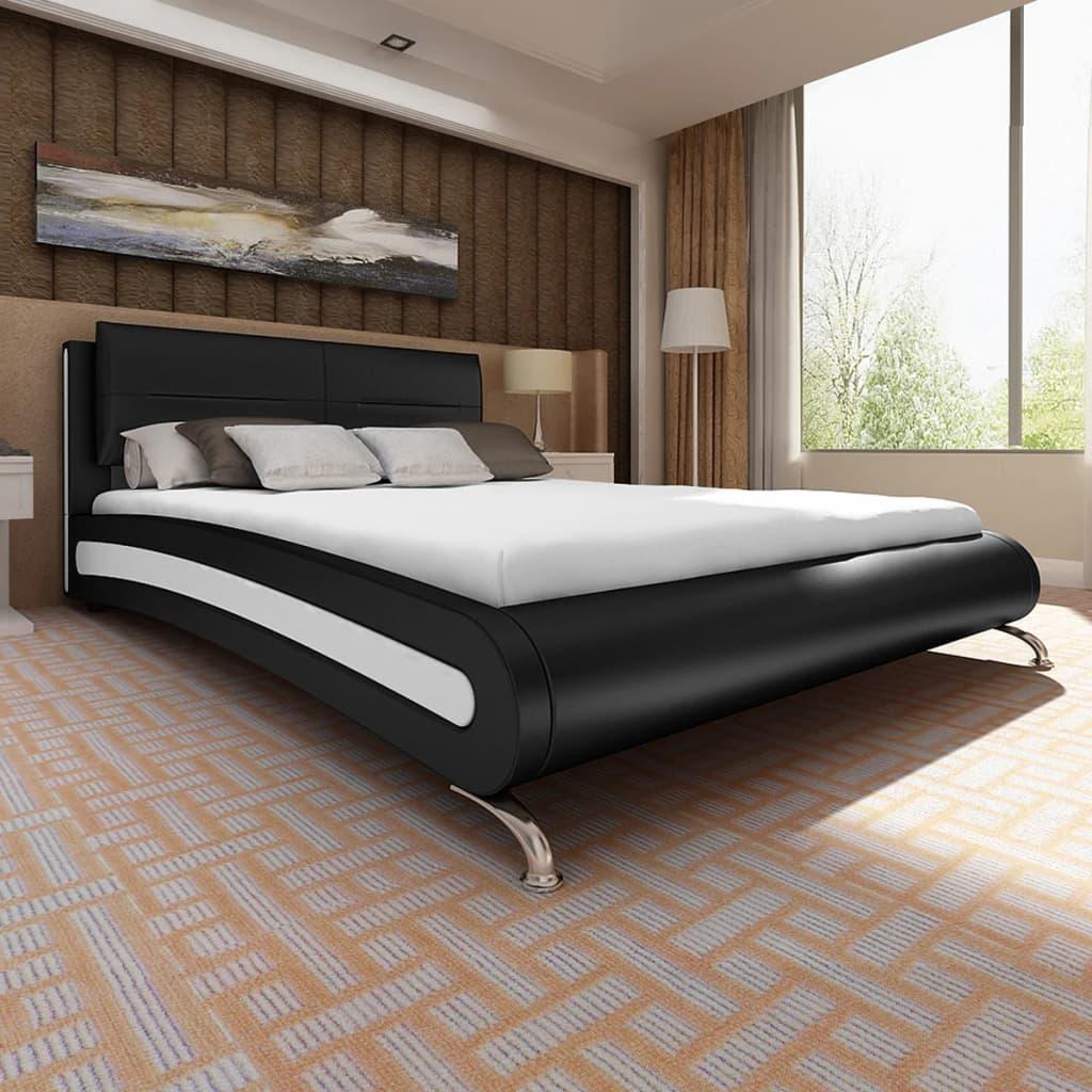 Černobílá postel umělá kůže 180x200 cm + matrace z paměťové pěny
