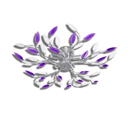 vidaXL Lampada da Soffitto Bianco e Viola in Cristalli Acrilici 5 E14[2/6]