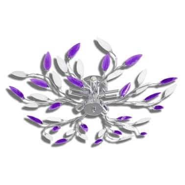 vidaXL Lamp met kristallen bladeren van acryl voor 5x E14 paars en wit[2/6]