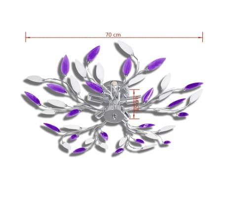 vidaXL Lamp met kristallen bladeren van acryl voor 5x E14 paars en wit[4/6]
