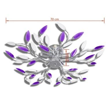 vidaXL Lampada da Soffitto Bianco e Viola in Cristalli Acrilici 5 E14[4/6]