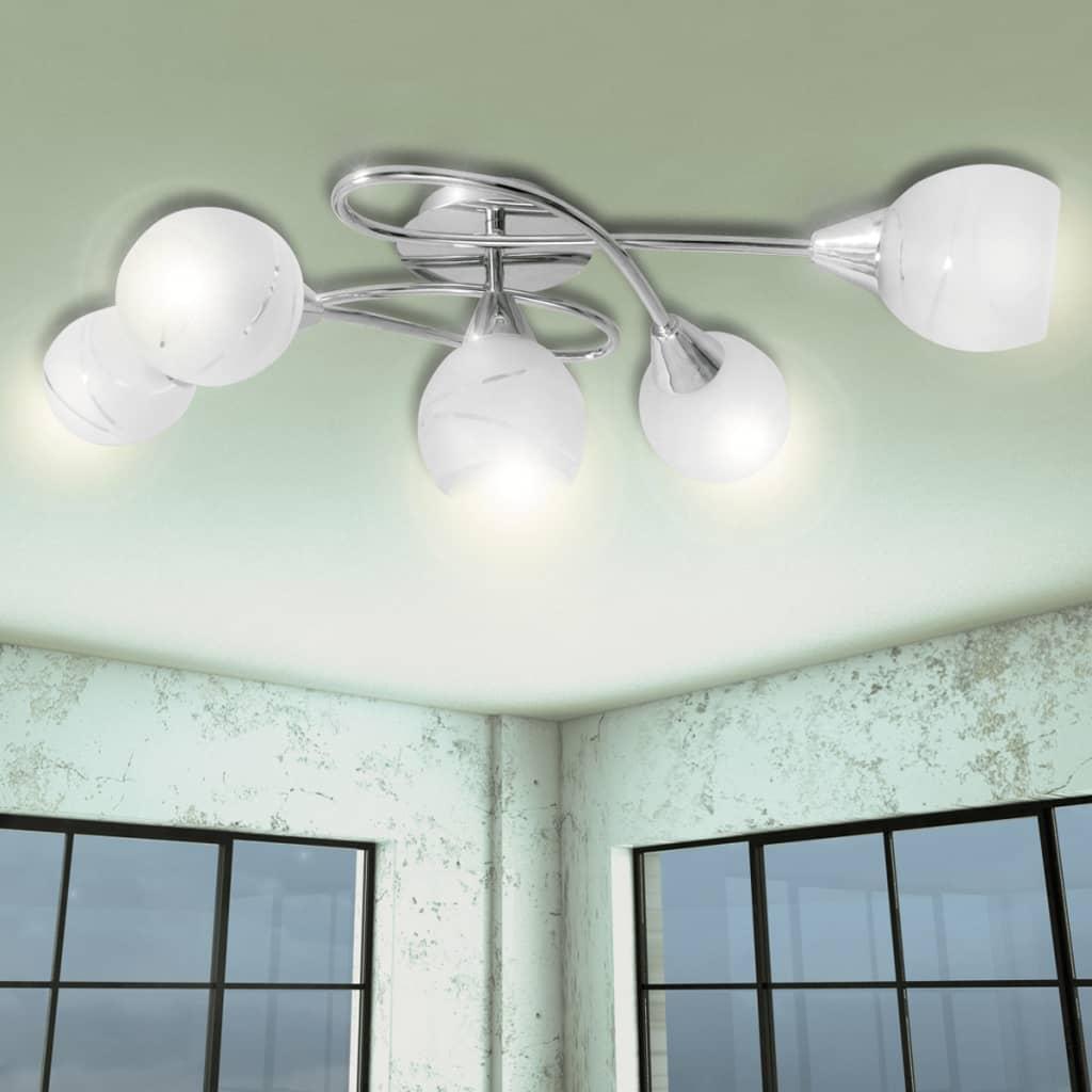 Lampă de plafon cu abajururi de sticlă pentru 5 becuri E14 poza 2021 vidaXL