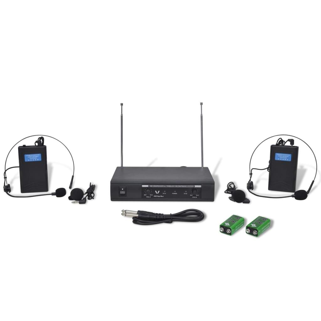 Bezdrátový mikrofonní systém VHF - přijímač a 2 x headset mikrofon