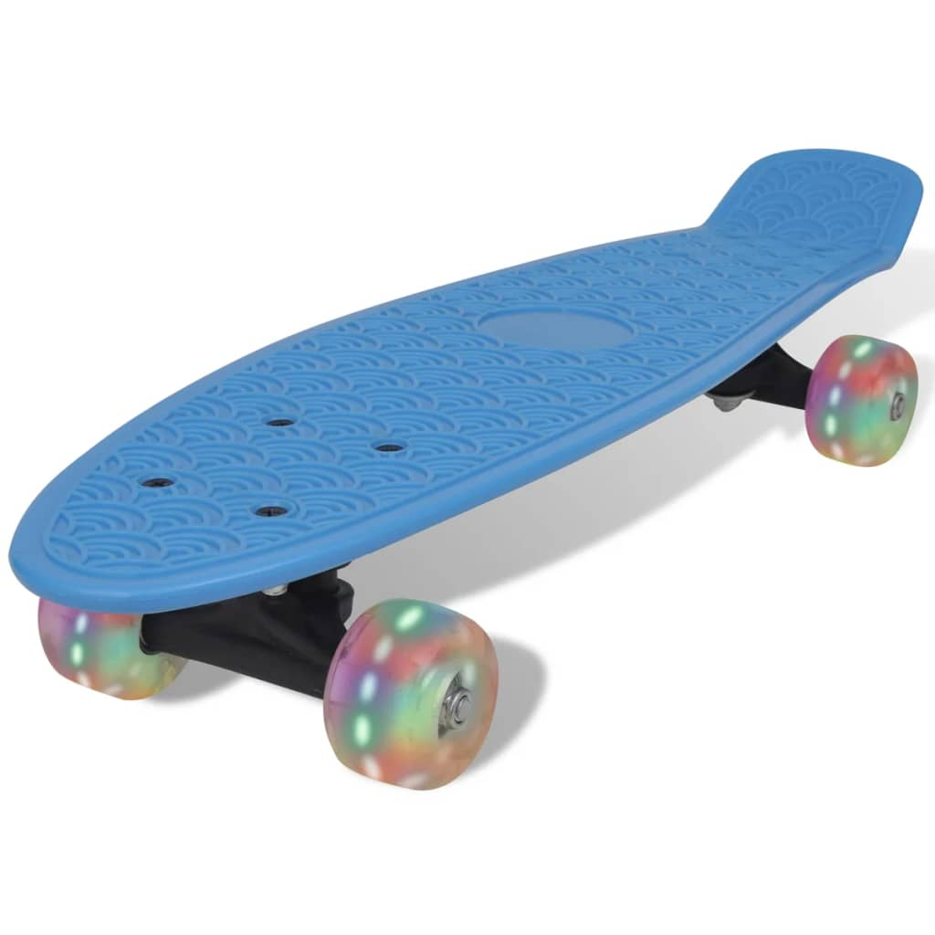 Modrý retro skateboard s LED koly