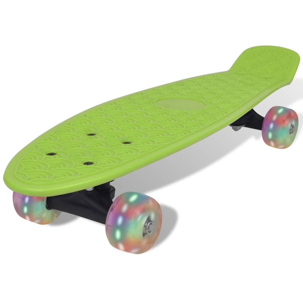 Skateboard retro cu roți cu LED-uri Verde vidaxl.ro