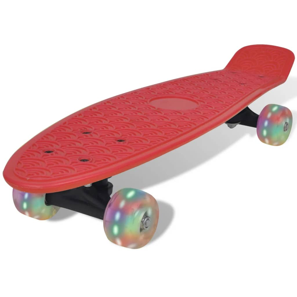 Skateboard retro cu roți cu LED-uri Roșu imagine vidaxl.ro