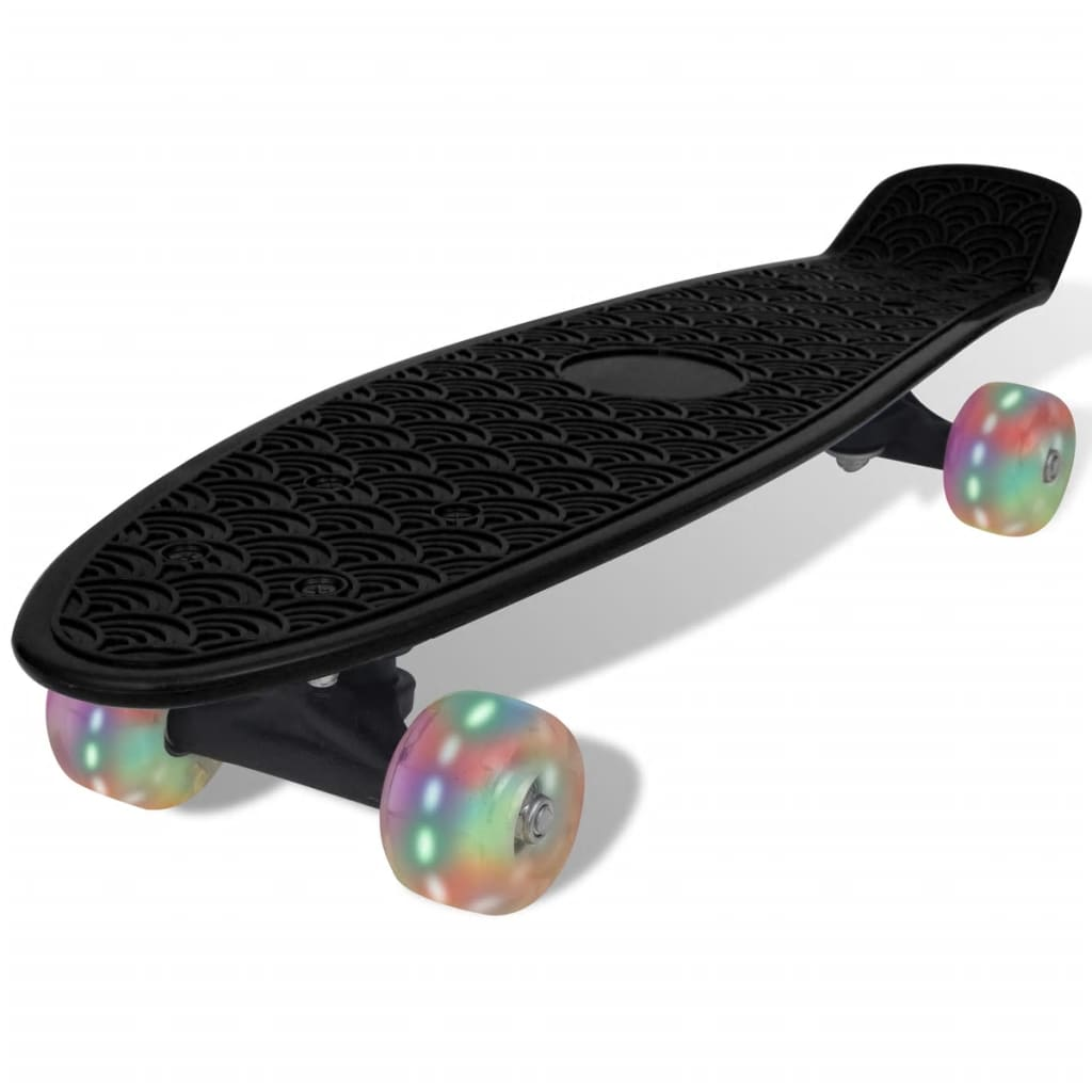 vidaXL Black Retro Skateboard with LED Wheels