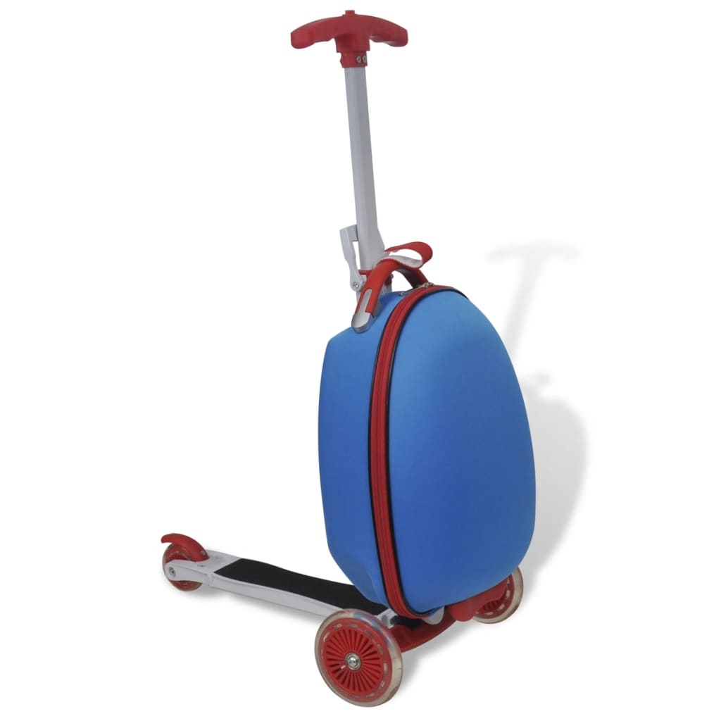 Modrý kufr s koloběžkou pro děti
