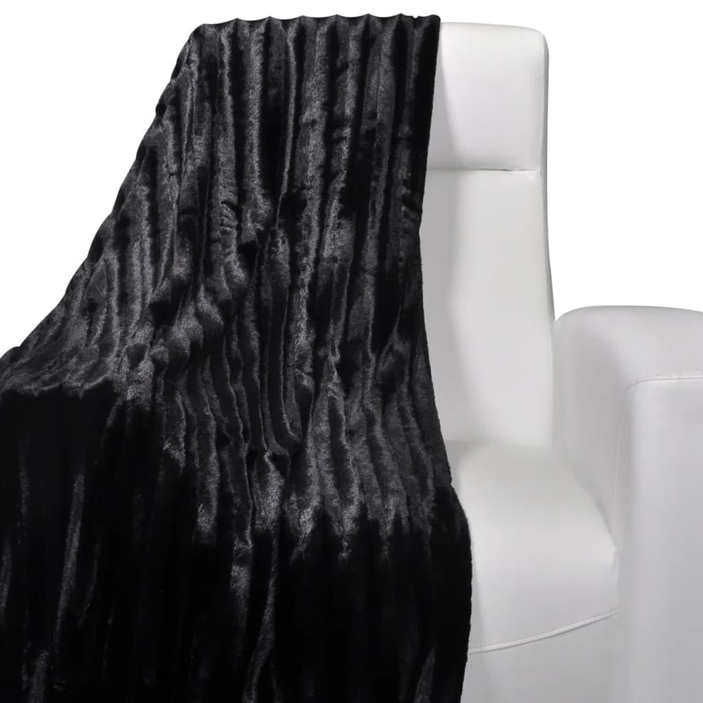 Černá deka z umělé kožešiny 150 x 200 cm