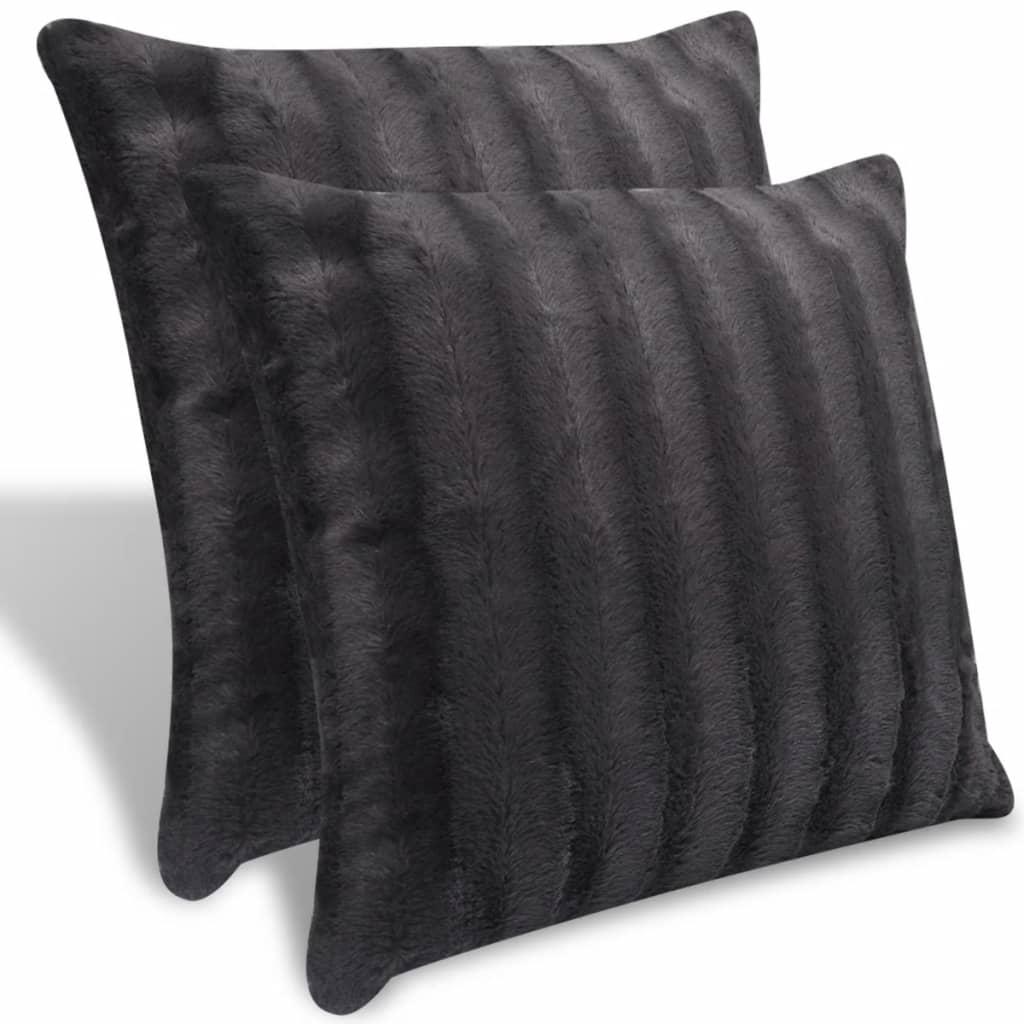 Šedý polštář z umělé kožešiny 2 ks 45 x 45 cm