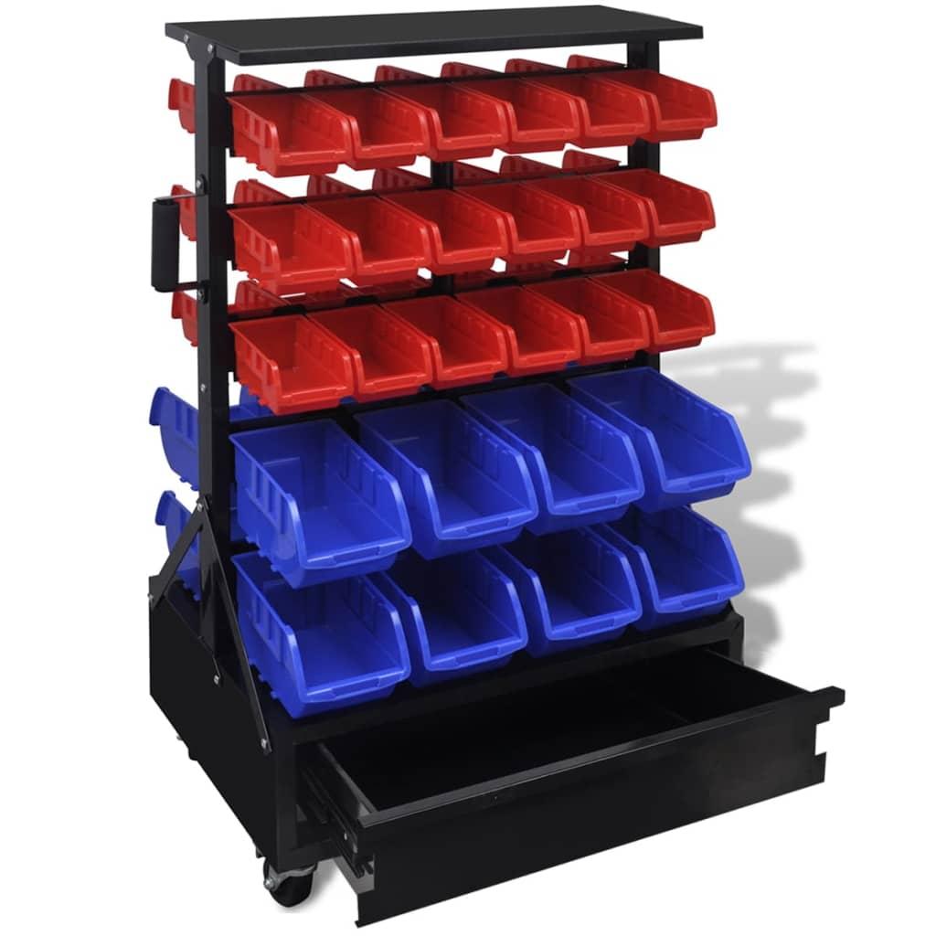 Modro červený organizér na nářadí do dílen se zásuvkou , na kolečkách