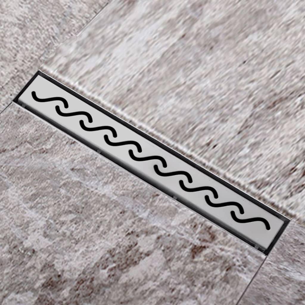 Sprchový podlahový žlab odtokový z nerezové oceli, vlna 540 x 110 mm