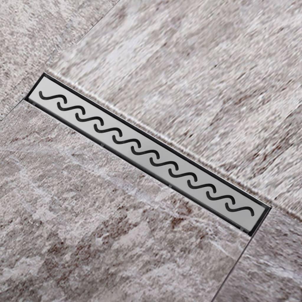 Sprchový podlahový žlab odtokový z nerezové oceli, vlna 640 x 110 mm