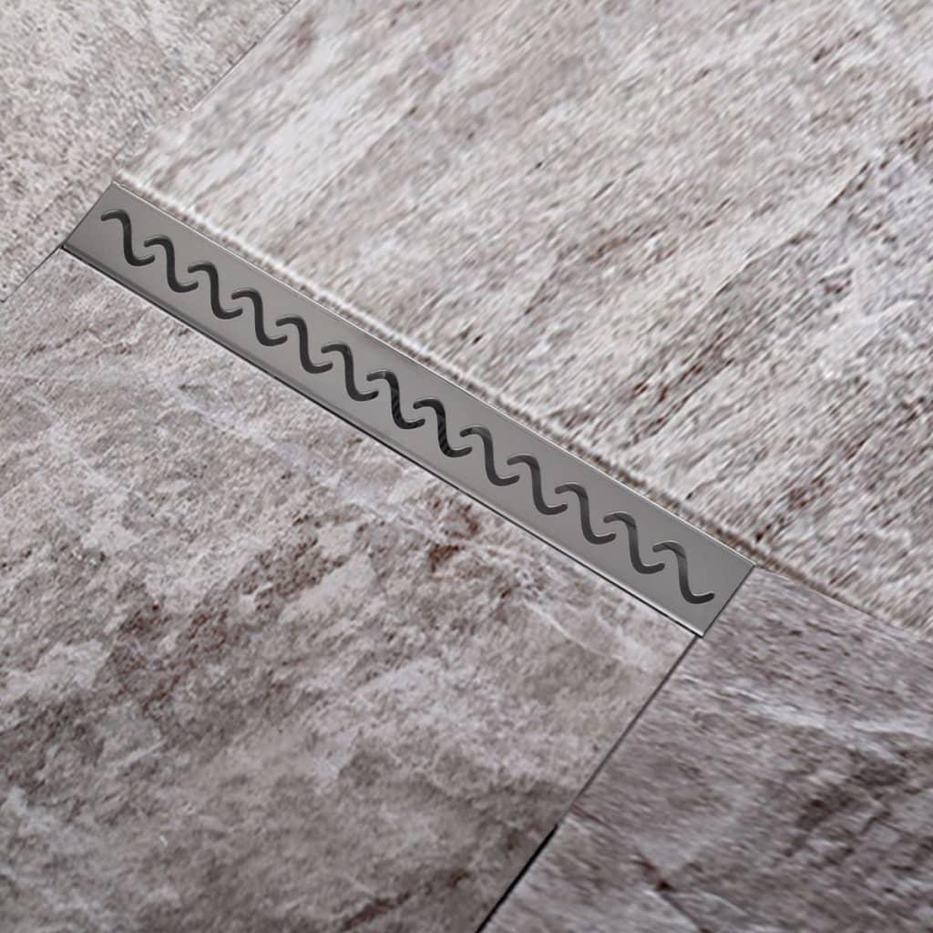 Sprchový podlahový žlab odtokový z nerezové oceli, vlna 740 x 110 mm