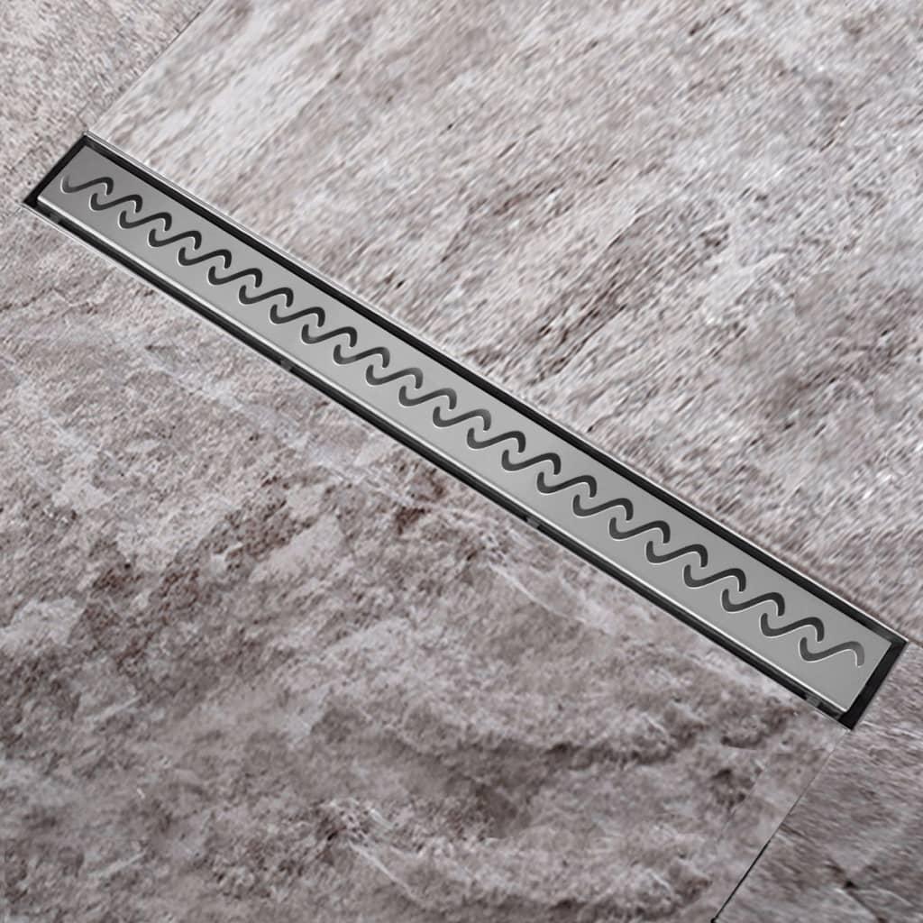 Sprchový podlahový žlab odtokový z nerezové oceli, vlna 1240 x 110 mm