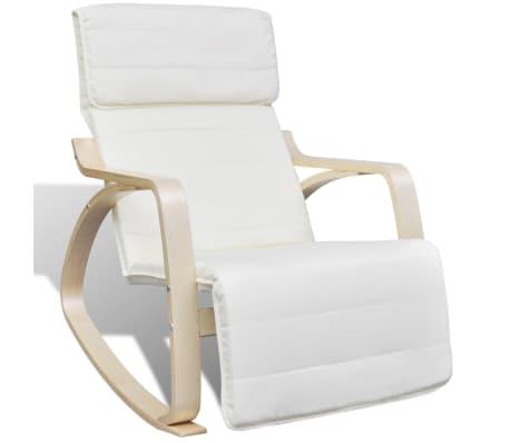 vidaXL Schommelstoel met houten frame verstelbaar crème