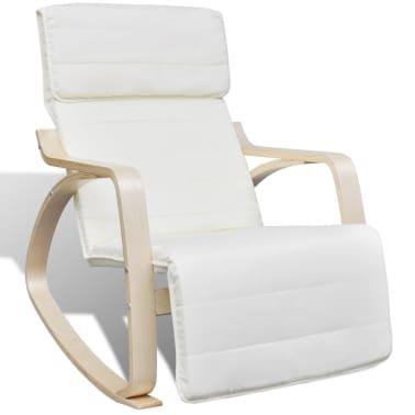 vidaXL Fotel bujany z giętą ramą, materiałowy, regulowany, kremowy[1/8]