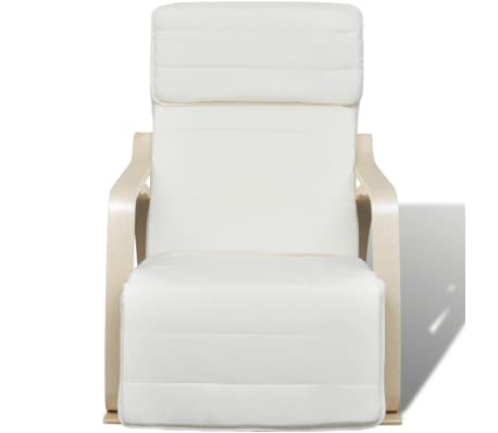 vidaXL Fotel bujany z giętą ramą, materiałowy, regulowany, kremowy[2/8]