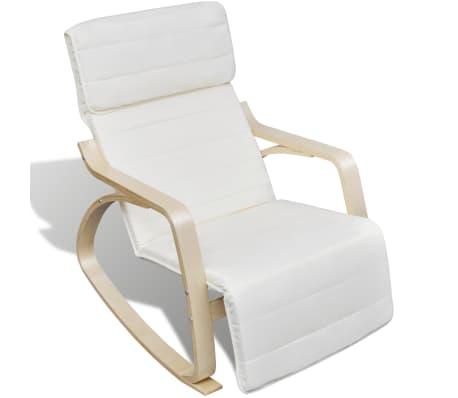 vidaXL Fotel bujany z giętą ramą, materiałowy, regulowany, kremowy[3/8]