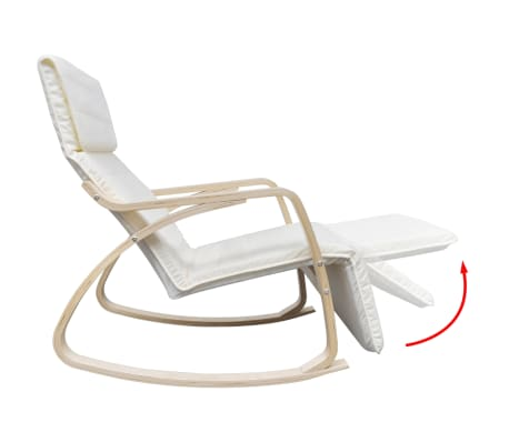 vidaXL Fotel bujany z giętą ramą, materiałowy, regulowany, kremowy[7/8]