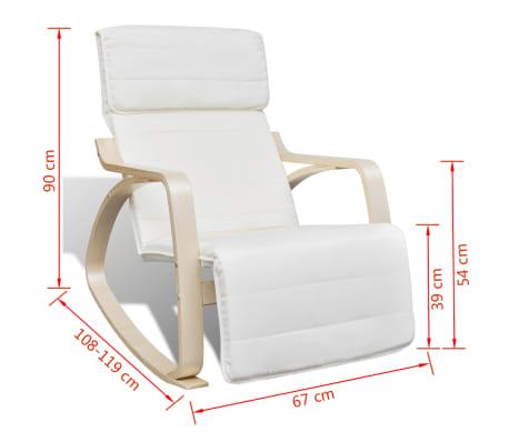 vidaXL Fotel bujany z giętą ramą, materiałowy, regulowany, kremowy[8/8]