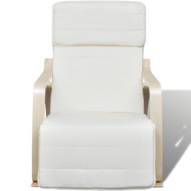 vidaXL Scaun balansoar, cadru curbat, material textil, reglabil, crem[2/8]