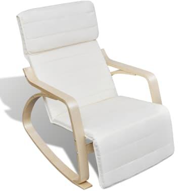 vidaXL Supamoji kėdė, lenktos med. rėmas, audinys, reg., kreminė sp.[3/8]