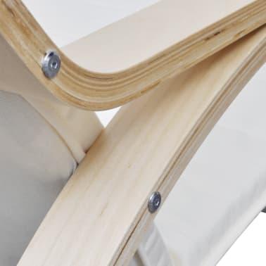 vidaXL Scaun balansoar, cadru curbat, material textil, reglabil, crem[5/8]