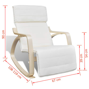 vidaXL Supamoji kėdė, lenktos med. rėmas, audinys, reg., kreminė sp.[8/8]