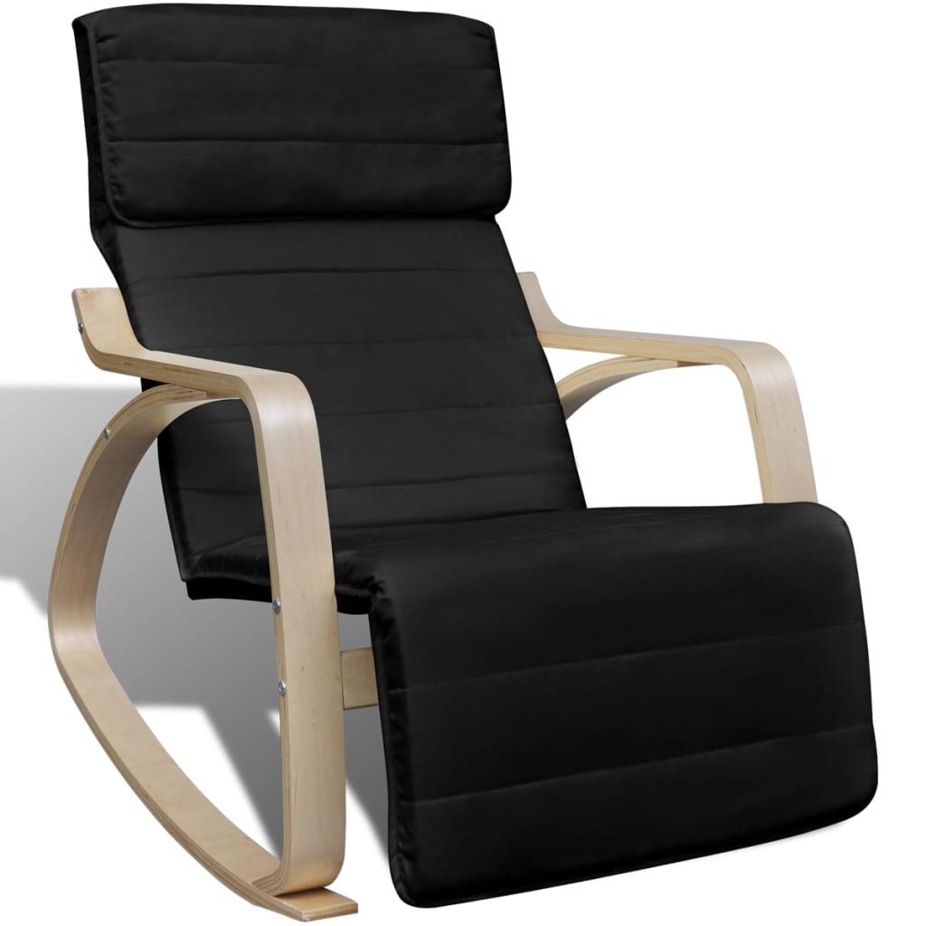 vidaXL Scaun balansoar, negru, lemn curbat și material textil poza 2021 vidaXL
