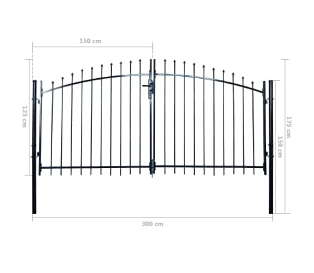 Double Door Fence Gate with Spear Top 10' x 5'[6/6]