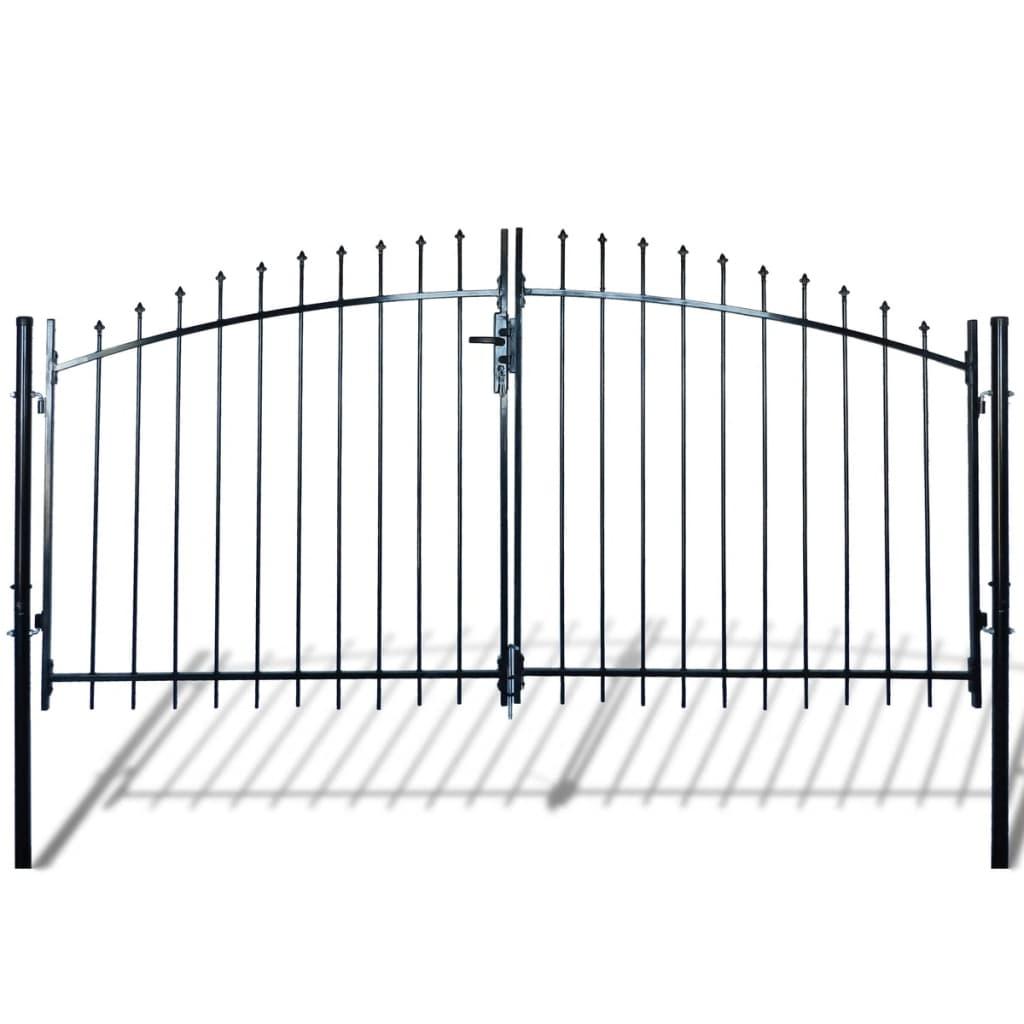 Dvoukřídlá plotová brána s hroty nahoře 300 x 200 cm