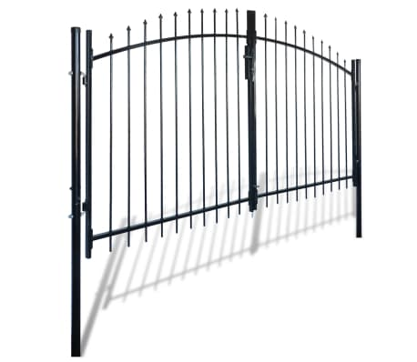 Double Door Fence Gate with Spear Top 10' x 6'[2/6]