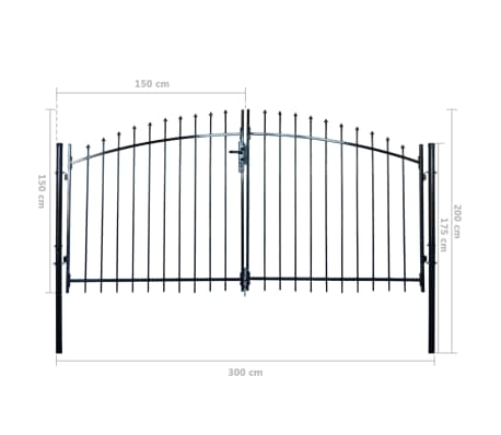 Double Door Fence Gate with Spear Top 10' x 6'[6/6]