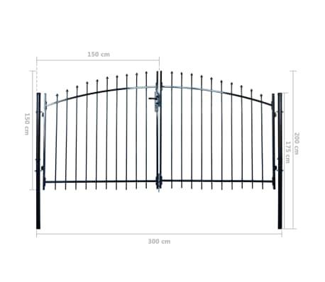 vidaXL Dvigubi tvoros vartai su iečių viršugal. 300 x 200 cm[6/6]