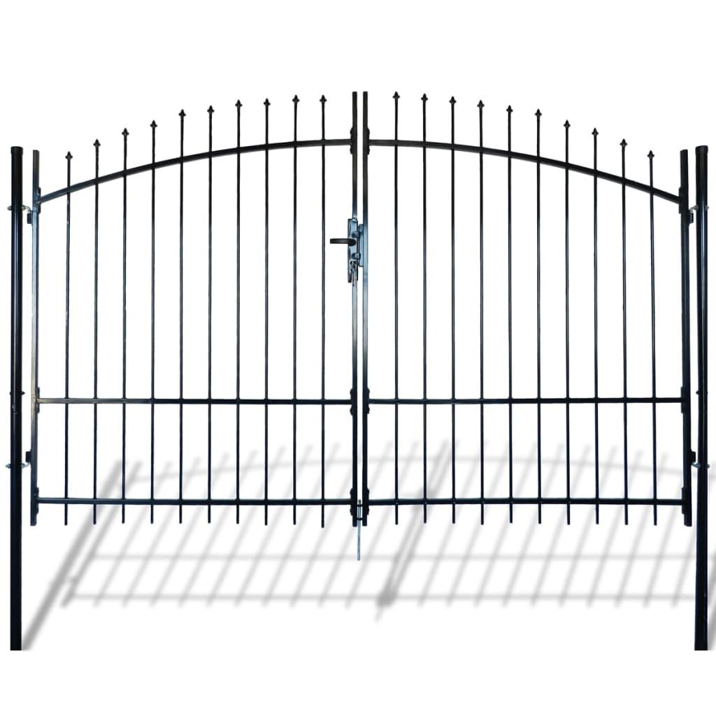 vidaXL Poartă de gard cu uși duble, cu vârfuri de suliță, 300 x 225 cm vidaxl.ro
