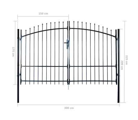 Double Door Fence Gate with Spear Top 10' x 7'[6/6]