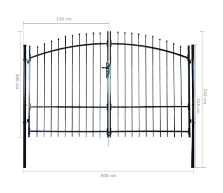 Double Door Fence Gate with Spear Top 10' x 8'[6/6]