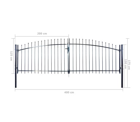 Double Door Fence Gate with Spear Top 13' x 5'[6/6]