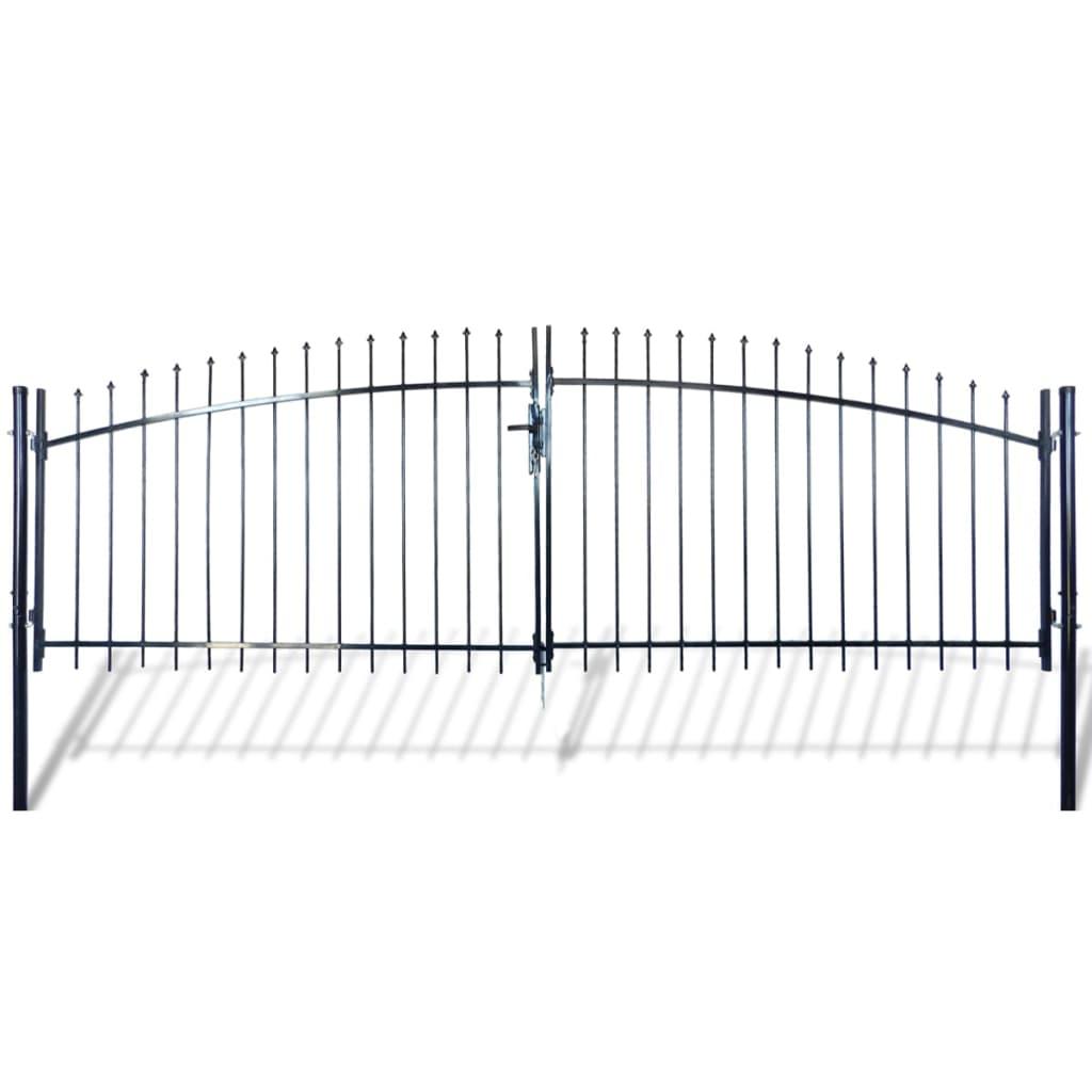 vidaXL Poartă de gard cu uși duble, cu vârfuri de suliță, 400 x 200 cm vidaxl.ro